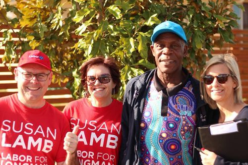 American actor Danny Glover has been campaigning with Labor and the ACTU for the past few days. Picture: Supplied