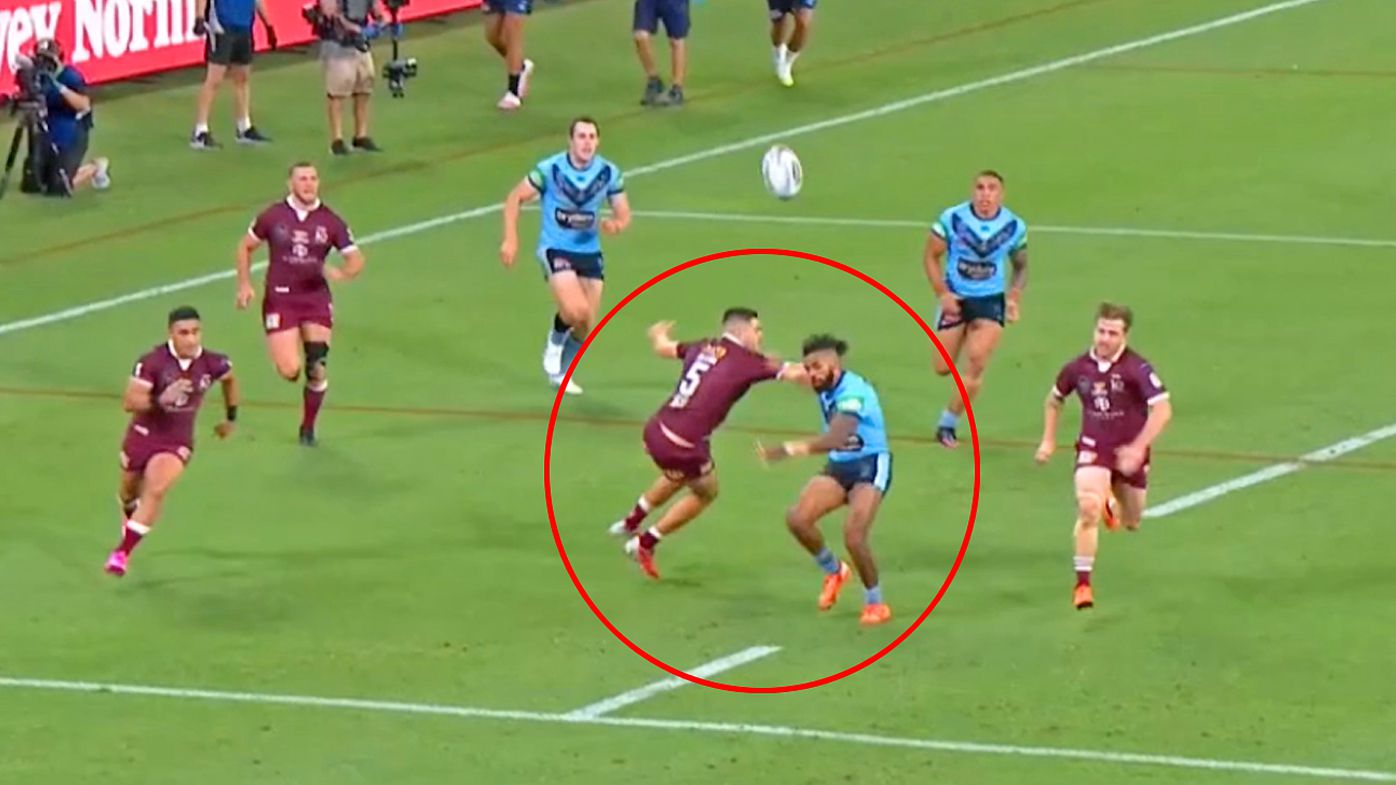 Josh Addo-Carr is fouled as he ran for a loose ball toward the try-line