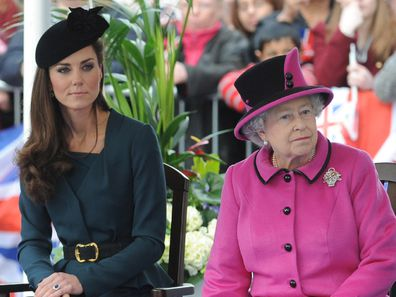 Queen Elizabeth ll and Catherine, Duchess of Cambridge visit Leicester City Centre on March 8, 20121 in Leicester, England.