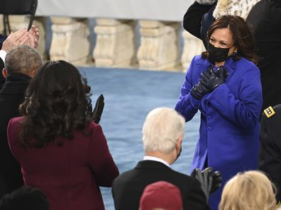 Vice President-elect Kamala Harris, right, meets former First Lady Michelle Obama and former President Barack Obama before President-elect Joe Bidens inauguration, Wednesday, Jan. 20, 2021, at the U.S. Capitol in Washington. (Saul Loeb/Pool Photo via AP)