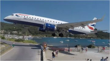 A group of holidaymakers had a close call when a British Airways plane narrowly missed their heads while landing on the Greek island of Skiathos.