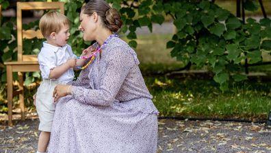 Sweden's Crown Princess Victoria celebrates her 41st birthday with son Prince Oscar