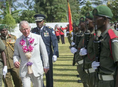 Prince Charles receives a warm welcome in Vanuatu on Saturday. (AAP)