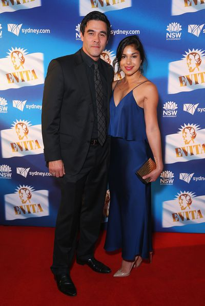 <em>Home and Away</em> stars James Stewart and partner Sarah Roberts at the premiere of <em>Evita,</em> Sydney Opera House