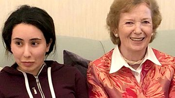 Sheikha Latifa bint Mohammed Al Maktoum and Mary Robinson, a former United Nations High Commissioner for Human Rights and former president of Ireland, in Dubai, United Arab Emirates.