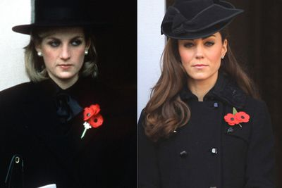 Both women are somber for Remembrance Day memorials.