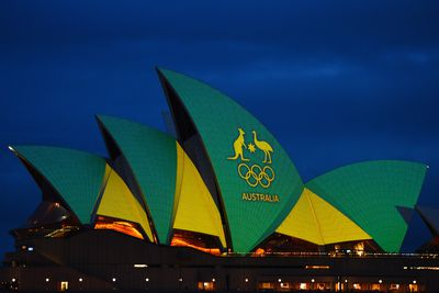 <p>The Sydney Opera House's iconic white sails have lit up in green and gold to mark the start of the Rio Olympics.</p> <p>The sails will be illuminated in the official colours of the Australian Olympic team at 5.30pm on Friday and remain lit up overnight to mark the start of the Games.</p> <p>(All pictures AAP)</p>