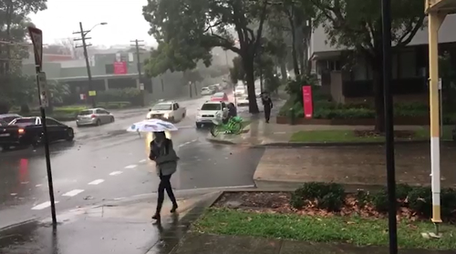 In Waterloo, those brave enough to head out on foot are guaranteed to get soaked by heavy rains.