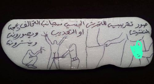 "his undated photo obtained by The Associated Press shows a drawing prisoners being abused at an Emirati-run prison in Yemen. The Arabic reads: ""A rough drawing for sexual harassment or torture by the coalition, with the excuse of searching (detainees) while filming and posting."" The drawing, made on a plastic plate with ink pen, is one of several drawings and letters smuggled out of the prison that describe torture practices witnessed or endured by the artist."