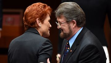 Derryn Hinch and Pauline Hanson speak inside the Senate chamber at Parliament House in Canberra, 2016.