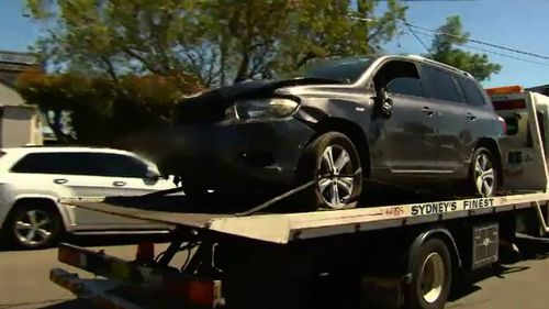 The car was towed away from the school this afternoon. (9NEWS)