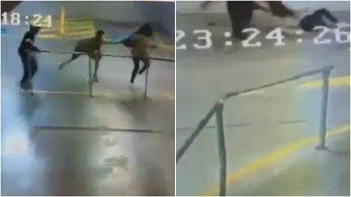 Confronting footage shows the young woman grabbed by her backpack and dragged across the concrete before allegedly being assaulted and having her bag stolen.