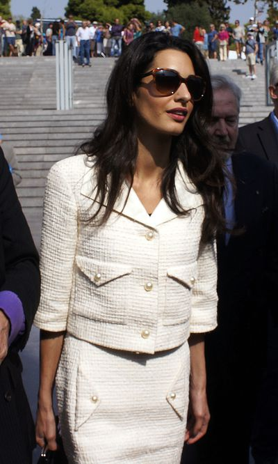 Amal Clooney in Chanel in Athens Greece, October 2014