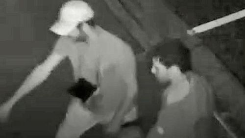 A CCTV image released by Victoria Police showing two men who may be able to help with their enquiries.