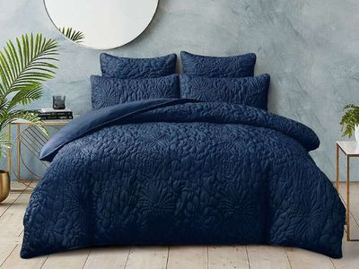 KOO Joanie Floral Quilted Quilt Cover Set Navy — Spotlight