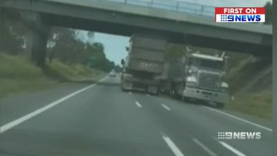 'Very dangerous': Rogue truck driver almost collides with B-Double