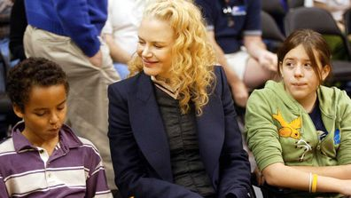 Actress Nicole Kidman and her children Connor (L) and Isabella (R) attend a game between the Los Angeles Lakers and the Miami Heat at the Staples Center December 25, 2004.