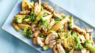 """<a href=""""http://kitchen.nine.com.au/2017/01/09/12/38/pohs-cantonese-chicken-broccoli-and-ginger-stir-fry"""" target=""""_top"""">Poh's Cantonese chicken, broccoli and ginger stir-fry</a><br> <br> <a href=""""http://kitchen.nine.com.au/content/2016/06/06/21/59/stunning-stirfry-recipes"""" target=""""_top"""">More stir-fries</a>"""