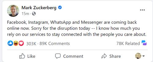 Facebook chief Mark Zuckerberg released a statement via Facebook ... once the platform had been restored.