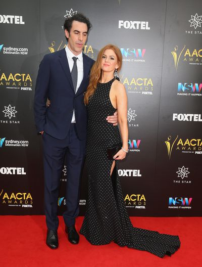 Isla Fisher in Alex Perry with Sacha Baron Cohen.