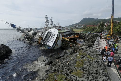 Damage caused by super typhoon Meranti in Kaohsiung city, southern Taiwan in 2016.