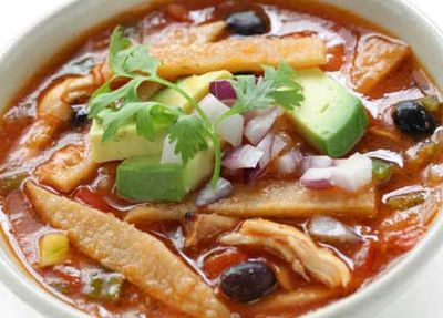 """Recipe:<a href=""""http://kitchen.nine.com.au/2016/05/18/17/43/mexican-tortilla-soup"""" target=""""_top"""" draggable=""""false"""">Mexican tortilla soup<br> </a>"""