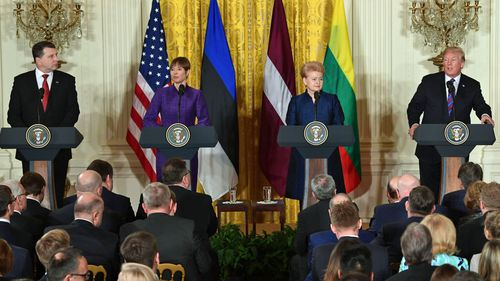 US President Donald Trump meets the leaders of three Baltic states on  Tuesday. (AP).