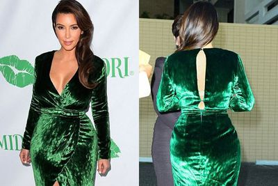 She may have had a plunging neckline, but it was actually the back of Kim's dress that caused all the wardrobe drama! After busting out of the back, momager Kris Jenner fixed the damage on the red carpet of the Midori Makeover Parlor event. <br/>