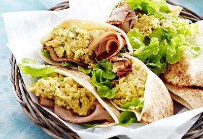 Pitas with ham and scrambled eggs