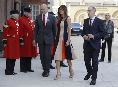 Melania Trump wears Victoria Beckham to meet with Chelsea pensioners in London, July 2018