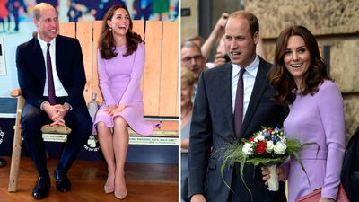 Kate Middleton with Prince William in London, October 9, 2018, and Hamburg, July 21, 2017