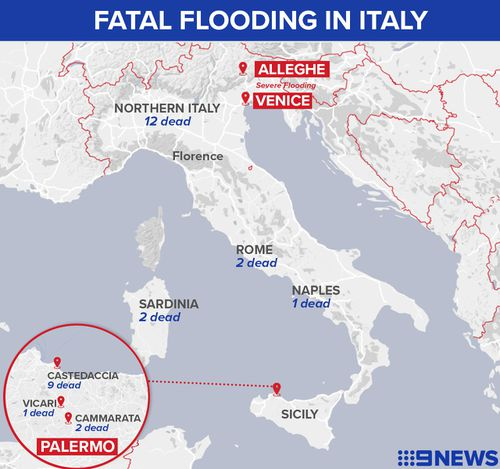 Storms have caused death and devastation across large parts of Italy including Sicily, Venice and Rome.