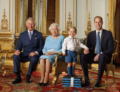 New photos of the Queen and her heirs show how much George has grown