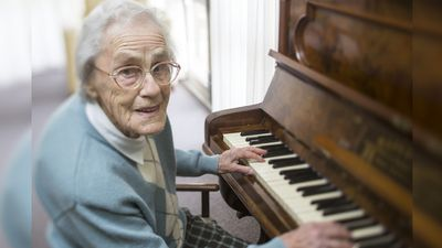 <p>Joy Ravenhall, 92, has dedicated her life to music and still plays in the Dalkeith Dazzlers band.</p>