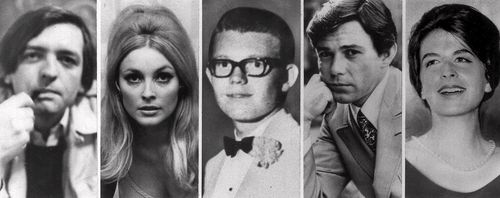 The image shows the five victims, Voityck Frykowski, Sharon Tate, Stephen Parent, Jay Sebring, and Abigail Folger, slain the night of August 9, 1969, at the Benedict Canyon Estate of Roman Polanski. (AAP)