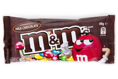 20 M&M's milk chocolates are 100 calories