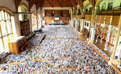 A general view of thousands of birthday cards sent to Captain Tom Moore for his 100th birthday on April 30th, are pictured displayed in the Hall of Bedford School, closed-down due to the COVID-19 pandemic, in Bedford, on April 29, 2020.