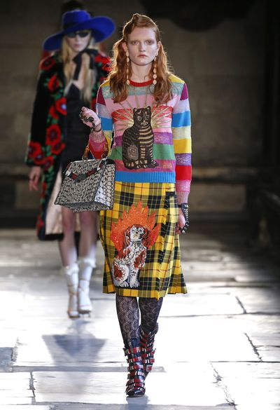 A bona fide Anglophile, Alessandro Michele looked to Britain for Gucci's Resort 2017 collection, delivering a show that gave a nod to every facet of English culture, from posh to punk. Mod suits, Thatcher-era dresses and Union Jack jumpers all found their place in the hallowed halls of London's Westminster Abbey.