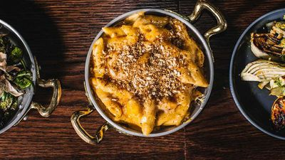 """<a href=""""http://kitchen.nine.com.au/2017/02/16/10/28/eastside-grills-truffled-mac-n-cheese"""" target=""""_top"""">Truffled mac 'n' cheese</a><br /> <br /> <a href=""""http://www.kensingtonstreet.com.au/vendors/eastside-grill/"""" target=""""_top"""">Eastside Grill, Chippendale NSW</a>"""