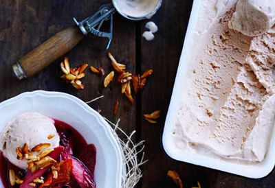 Roast rhubarb with candied almonds and rhubarb ice-cream