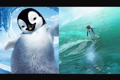 <b>In <i>Happy Feet</i>...</b> Penguins with special physical talents that humans usually have fight against the odds to be accepted.<br/><br/><b>In <i>Surf's Up</i>...</b> Penguins with special physical talents that humans usually have fight against the odds to be accepted.