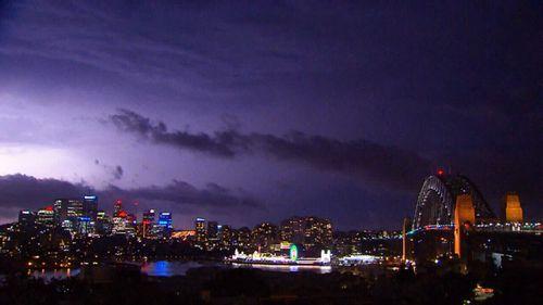 The Sydney skyline was lit up last night.