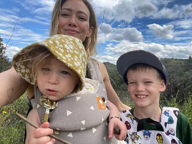 Hilary Duff with Banks and Luca.