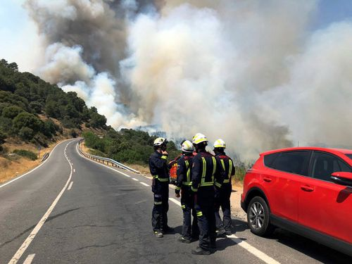 A total of 348 members of the emergency services work to extinguish a forest fire declared 28 June 2019 in Toledo province that has already burnt 1,000 hectares before reaching Madrid region where more than 1,300 hectares have already burnt.