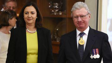 Labor leader Annastacia Palaszczuk and Queensland Governor Paul de Jersey. (AAP)