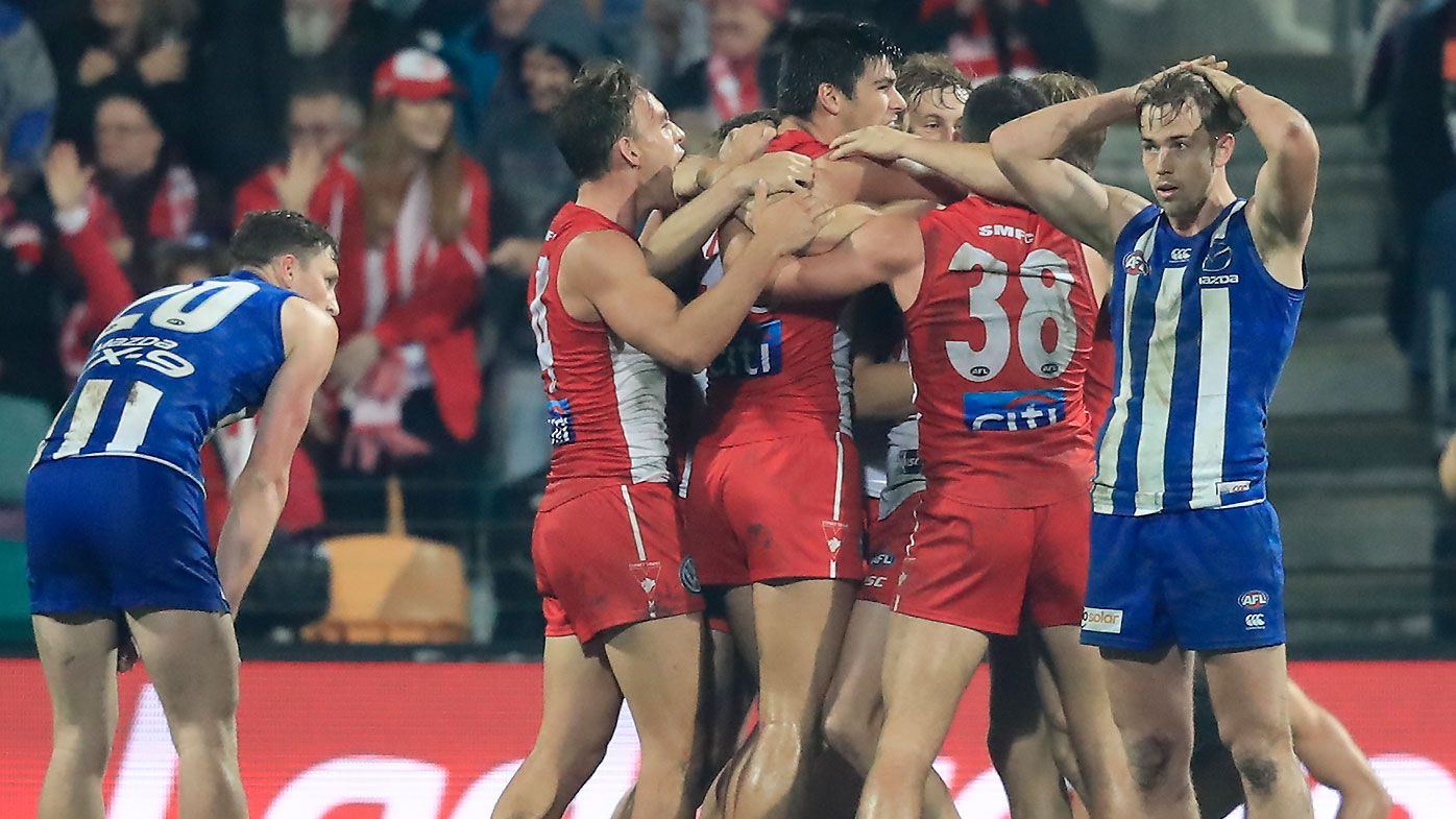 Undermanned Sydney Swans withstand furious North Melbourne final quarter rally