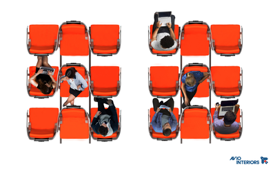 """""""Janus,"""" by Italian firm Aviointeriors, proposes seats made up of a row of three, with the seat in the middle facing the opposite direction."""