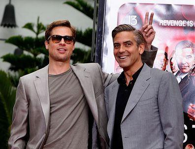 Brad Pitt and George Clooney during the Hand and Footprints Ceremony at Grauman's Chinese Theatre on June 5, 2007 in Hollywood, California.