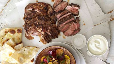 "<a href=""http://kitchen.nine.com.au/2016/05/16/18/05/butterflied-lamb-leg-with-patzaria-salata"" target=""_top"">Butterflied lamb leg with patzaria salata</a><br> <br> <a href=""http://kitchen.nine.com.au/2016/06/06/21/23/speedy-weekday-roast-recipes"" target=""_top"">More speedy weekday roasts</a>"