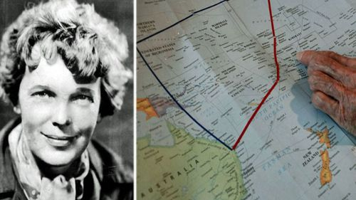 Amelia Earhart and the vast swathe of the Pacific Ocean where she and her navigator went missing.